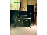 PA SYSTEM, TORQUE 240W AMP, 200W SPEAKERS, SPEAKER STANDS, MICROPHONE AND STAND, SPEAKER CABLES.