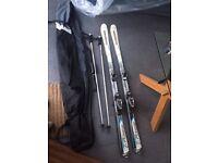 Skis with Bindings, Poles and Bag