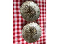 2 x compass glass bowls
