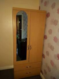 Double door Beech wood wardrobe with mirror and drawers