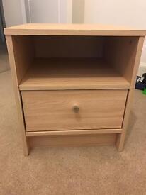 Pale Oak Bedside Table Drawer - like new