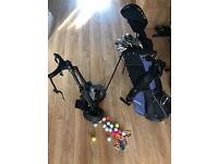 RAM Golf clubs, golf balls/tees and trolley