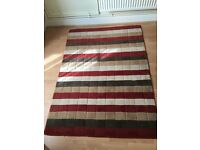 For Sale - Lovely NEXT RUG, in Red, brown, beige,cream stripe, size 120cm x 170cm, good condition