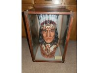 North American Indian Head in Glass Display Case