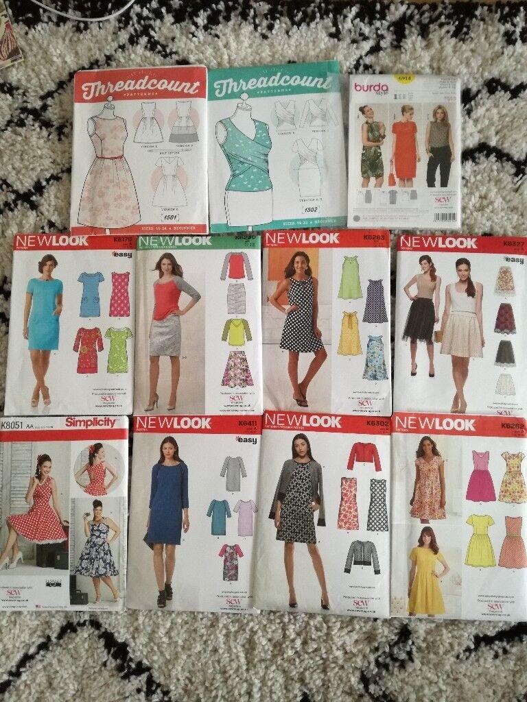 Various sewing patterns, sizes 8-24
