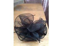 Black Fascinator hair accessorie for wedding