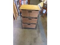Three Drawer Wicker Rattan Storage Chest.