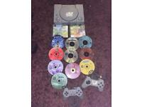 Sony PlayStation 1 console with games