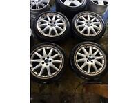"18"" GENUINE FORD FOCUS MONDEO GALAXY ST ALLOY WHEELS SET OF 4 WITH MATCHING TYRES gh"