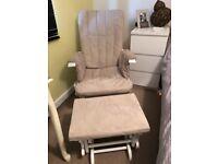 Beige rocking nursing chair with stall