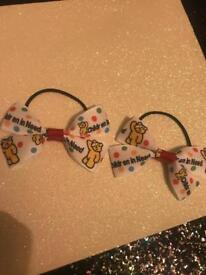 Pudsey bear children in need hair bows bobbles