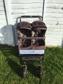 Mountain Buggy Duet Black Pushchair Double Seat Stroller Flint