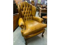 Fabulous antique style stunning quality leather chesterfield deep button wingback armchair