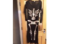 SKELETON DRESS-CAN BE USED AS HALLOWEEN COSTUME SIZE 12-14