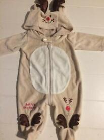 Baby reindeer Christmas babygro sleepsuit all in one outfit new born clothes cute clothing