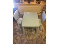 Kids IKEA baby blue rectangle table and 2 chairs