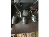 Canon EOS 1000F with accessories