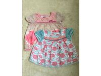 2 x baby girl Monsoon tops - 6-12 months