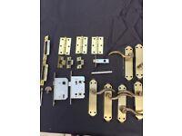 Brass Door Handles, locks, brackets and hinges. Excellent condition
