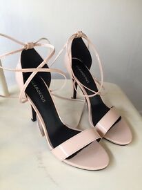 Glamorous Nude Tie Up Barely There Heeled Sandals. Brand new, without box. Size 6.
