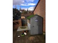 4 x 6 timber shed, insulated, painted grey