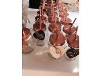 30 x Mason Jam Jars wedding party ~ rose gold tops + extras