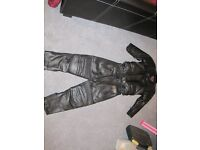 Motorcycle kids leathers, jacket size 24, trousers size 8