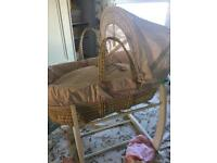 Mamas and papas Moses basket and stand Millie and Boris pink
