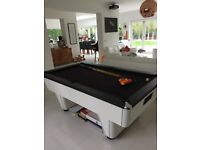 Immaculate white pool table with black baize, chrome trim, 2 cues and ball set
