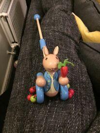 Peter rabbit wooden pushalong