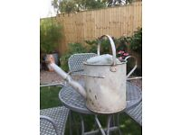 Lovely, well made watering can 2 gallons vintage garden zinc plated steel