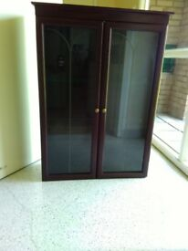 Display cabinet/trophies/ornaments etc - dark wood, glass doors
