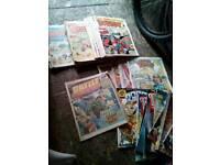 About 100 comics £15 brackla battle dandy wow judge dredd