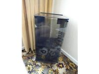 VINTAGE HI FI TOSHIBA SMOKED GLASS BLACK WOOD VENEER CABINET