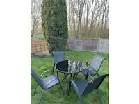 4 chairs garden furniture glass table set