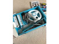 Nintendo Wii with Games and Super Mario Steering Wheel