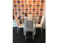 Glass Kitchen Dining Table with 4 chairs