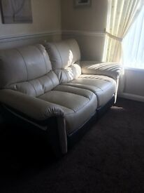 Leather Cream and brown 2 Seater And 2 chairs