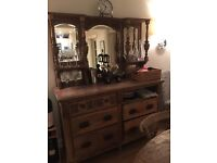 Antique sideboard with mirrored shelves