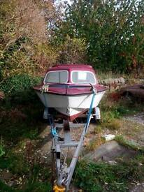 Microplus 501 with trailer fishing cabin boat