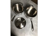 Quality Commichef stainless steel saucepans 20cm & 18cm