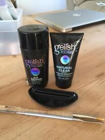 Gelish Polygel slip solution and natural clear, brush and sculpt tool