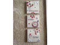 Dreams Come True - trio of canvas'