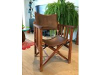 Director's Chair - Hardwood with Leather Seat and Back - Folding