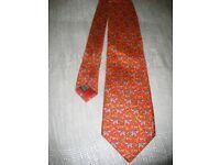 Silk Tie - NEW Beautifully Made English Item, Red Elephant Theme