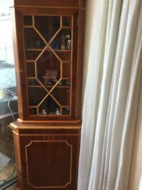 Corner display cabinet, maple