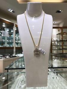 10kt Yellow Gold And 0.59ct Diamond Dollar Pendant Set With Franco chain