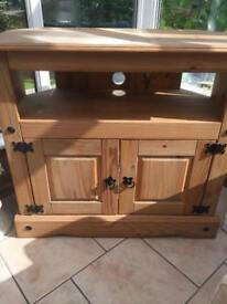Mexican pine corner tv stand