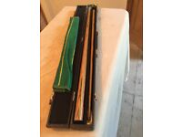 FREE - snooker cue, case, cloth, chalk - mint condition