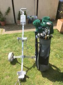 Golf clubs bag and trolley